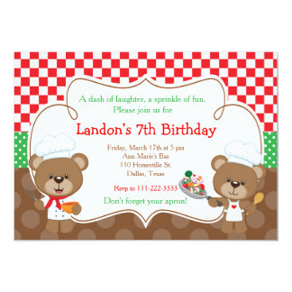 Cooking Chef Bear Birthday Party 13 Cm X 18 Cm Invitation Card