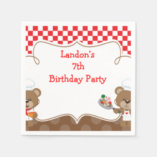 Cooking Chef Bear Birthday Party Disposable Serviettes