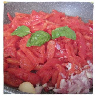 Cooking homemade tomato sauce napkin