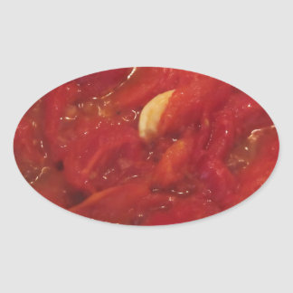 Cooking homemade tomato sauce oval sticker
