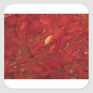 Cooking homemade tomato sauce square sticker