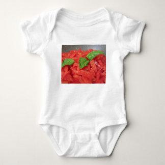 Cooking homemade tomato sauce using fresh tomatoes baby bodysuit