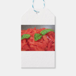 Cooking homemade tomato sauce using fresh tomatoes gift tags