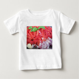 Cooking homemade tomato sauce using tomatoes baby T-Shirt