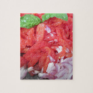 Cooking homemade tomato sauce using tomatoes jigsaw puzzle