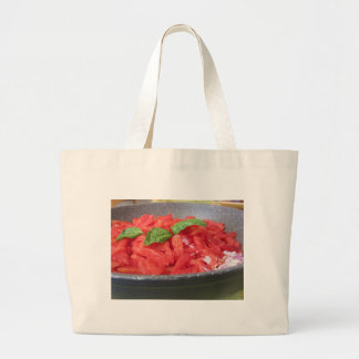 Cooking homemade tomato sauce using tomatoes large tote bag