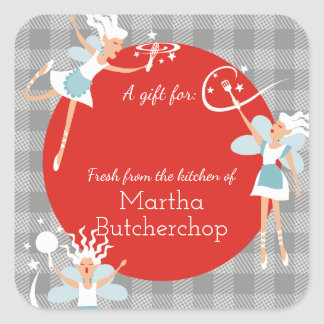 Cooking kitchen fairies Christmas food gift label Square Sticker