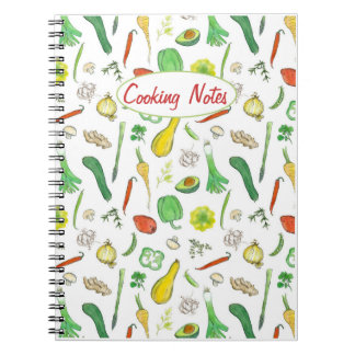 Cooking Notes Fresh Vegetables Watercolor Drawing Spiral Notebook
