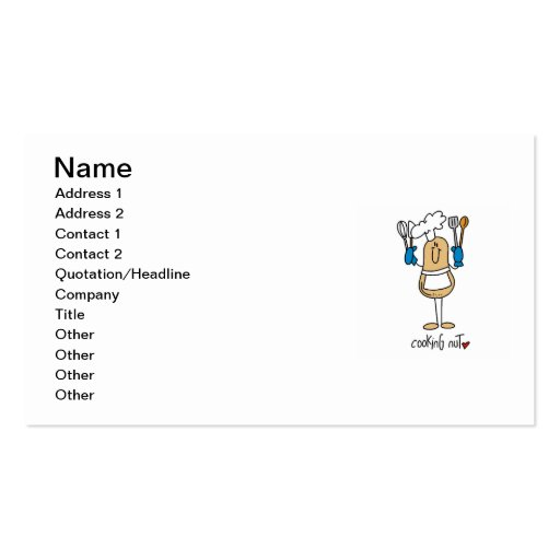 Cooking Nut T-shirts and Gifts Business Card