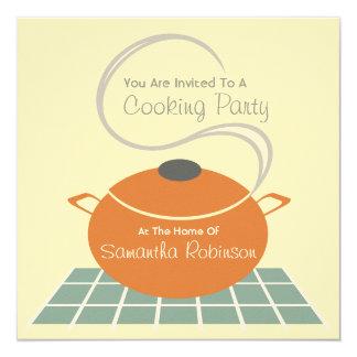 Cooking Party Invite - Orange & Blue Kitchen