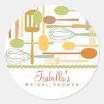 Cooking Utensils Kitchen Bridal Shower | Retro Round Stickers