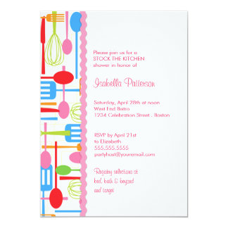 Cooking Utensils Stock the Kitchen Bridal Shower 13 Cm X 18 Cm Invitation Card