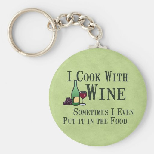 Cooking with Wine Basic Round Button Key Ring