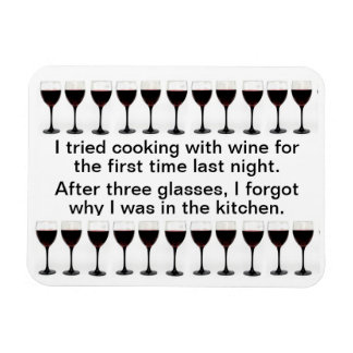 Cooking with Wine - Funny Saying on Apron Rectangular Photo Magnet