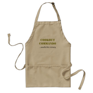 COOKOUT COMMANDO smells like victory Aprons