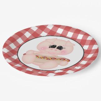 Cookout Pig Hotdog paper plate