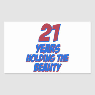 cool 21 years old birthday designs rectangular stickers
