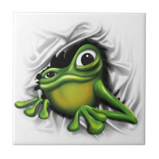 Cool 3d frog small square tile