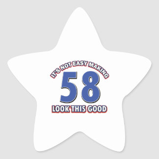 Cool 58 year birthday designs star stickers