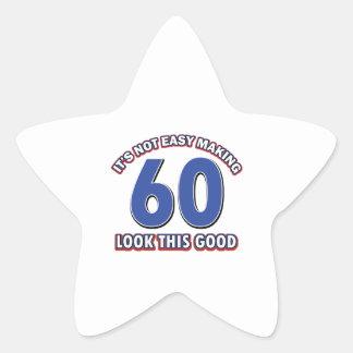 Cool 60 year birthday designs star stickers
