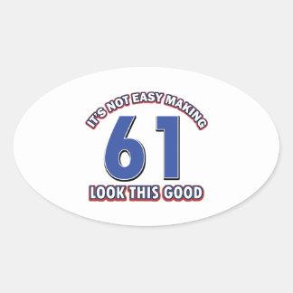 Cool 61 year birthday designs stickers