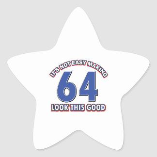 Cool 64 year birthday designs star stickers
