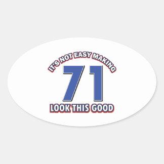 Cool 71 year birthday designs stickers