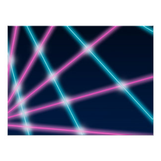 Cool 80s Laser Light Show Background Retro Neon Perfect Poster