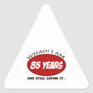cool 85 years old birthday designs triangle sticker