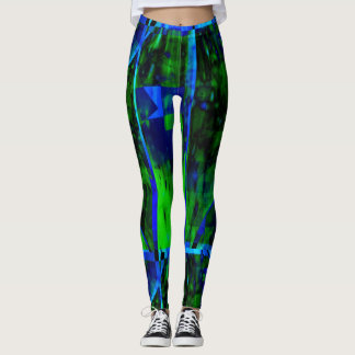 Cool Abstract Art Leggings in Green and Royal Blue