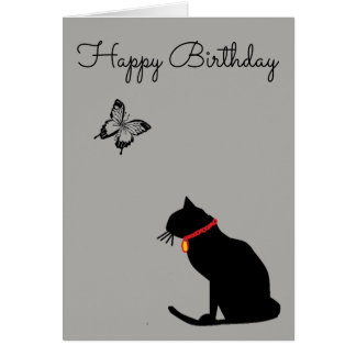 Cool Abstract Grey Cat Birthday Card