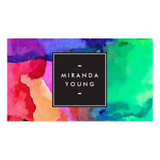 Cool Abstract Multi-color Watercolors III Modern Pack Of Standard Business Cards