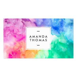Cool abstract multi color watercolors modern art pack of standard business cards