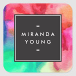 Cool Abstract Multi-colour Watercolors Modern Square Sticker