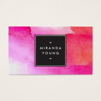 Cool Abstract Pink/Red Watercolors Modern Business Card