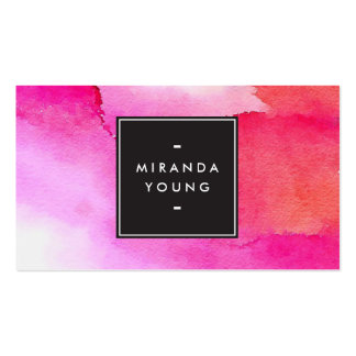 Cool Abstract Pink/Red Watercolors Modern Pack Of Standard Business Cards