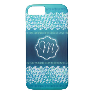 Cool Abstract Textured Waves Patter with Monogram iPhone 8/7 Case