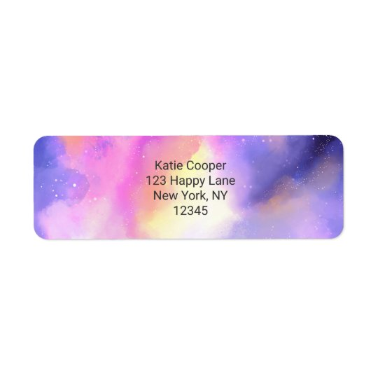 Cool Abstract Watercolor Cosmic Space Design Return Address Label