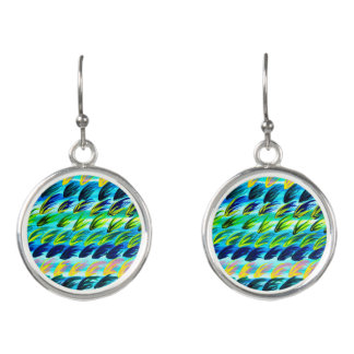 Cool Abstract Watercolour Drop Earrings