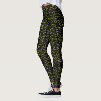 Cool Abstract Yellow and Black Squiggles Pattern Leggings
