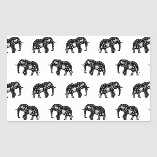 Cool Africa Pattern Elephant Picture Rectangular Sticker