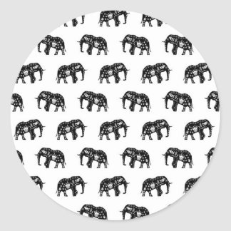 Cool Africa Pattern Elephant Picture Round Sticker