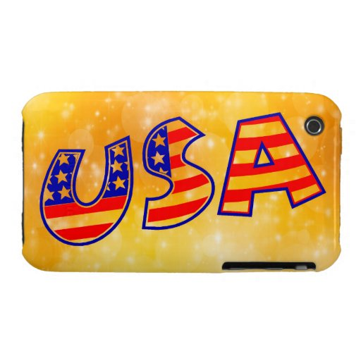 Cool America Flag letters trendy gold bright iPhone 3 Cases