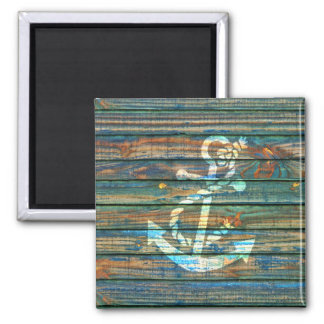 Cool Anchor Green Blue Rustic Wood Photo Print Magnet