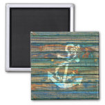 Cool Anchor Green Blue Rustic Wood Photo Print Square Magnet