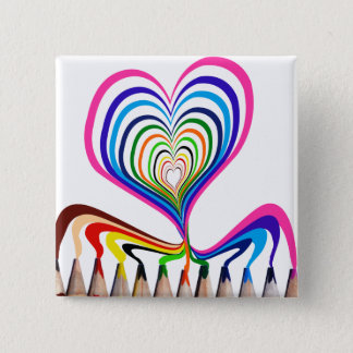 cool and beautiful Hand painted hearts with color 15 Cm Square Badge