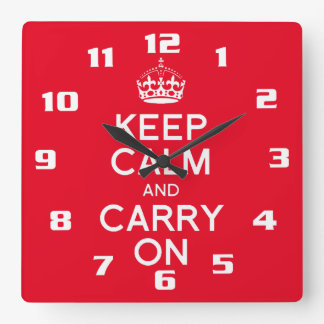 Cool and classic keep calm and carry on square wall clock