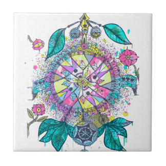 Cool and colorful dreamcatcher small square tile