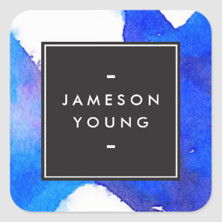 Cool and Elegant Abstract Blue Watercolor Square Sticker