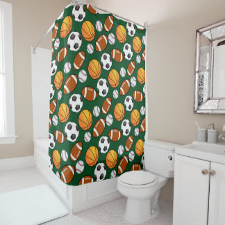 Cool and Fun Different sport theme Pattern Shower Curtain